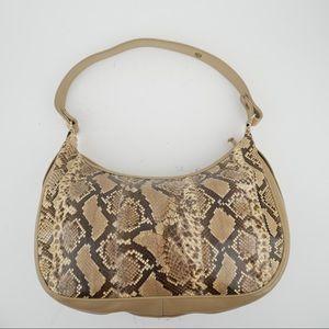 Vintage snakeskin leather hobo shoulder bag
